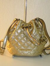 MICHAEL KORS JULES Small Pale Gold Quilted Leather DRAWSTRING CROSSBODY Bag $228