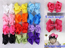 Wholesale arrival 12pc Baby Girl Grosgrain Ribbon solid Hair bows with clip 430B