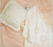 Vintage knitting pattern-how to make a pretty lace baby pram cover & cushion DK