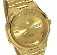 Seiko SNKK52 Automatic Gold Day Date Dial Stainless Steel Bracelet Men Watch New