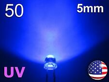 50pcs 5mm UV - Purple Straw Hat LED - Wide Ultra Violet Water Clear Diode - DIY