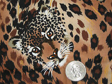 CHEETAH PRINT FABRIC-BROWN & BLACK-SCRAP-A LITTLE LESS THAT 1/4 YARD-COTTON