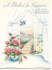 Vintage Unused Embossed Birthday Greeting Card with Bluebird, Window, and Roses