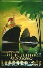 Steam ship after Rio de Janeiro Metal Tin Sign 7 9/10x11 4/5in