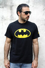 Bat-man T Shirt Black Yellow Mens Comix Hanes Heavyweight L 42/44