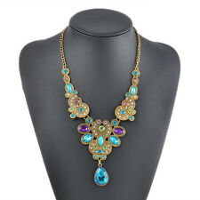 Charm Fashion Jewelry Crystal Chunky Statement Bib Pendant Chain Choker Necklace