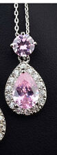 GORGEOUS 18K WHITE GOLD PLATED GENUINE PINK SWAROVSKI CRYSTAL NECKLACE