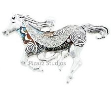 Rhinestone Painted Silver Horse Pendant Snake Chain Womens Necklace Jewelry 20-5