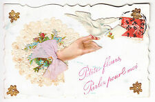 CPA FANTAISIE  - MONTAGE COLLAGE RELIEF MAIN COLOMBE LETTRE 1900-1920 ~A90