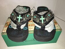 "Montana West Size 7 Black & Turquoise 2"" Wedge Heel Flip-Flops Sandals NIB"