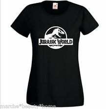 jurrasic t-shirt dinosaur film jurrasic park black lady fit xl womans top XL