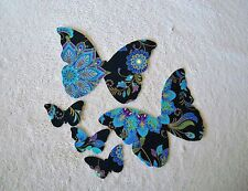 XLG BUTTERFLY APPLIQUES PURPLE,BLUE,GOLD METALLIC, BLACK FABRIC IRON ON #115