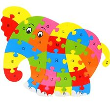 Wooden Blocks Kid Child Educational Alphabet Puzzle Jigsaw Toy ~Elephant~