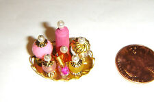 Miniature Barbie Doll Sized Accessory Golden Tray W/Bottles For Diorama dm02