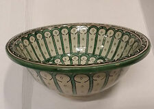 Rabat Green Ceramic Hand painted Moroccan Bathroom Basin , Painted inside out