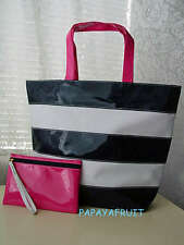 2pc Estee Lauder Rugby Glossy Navy White Pink Tote Bag