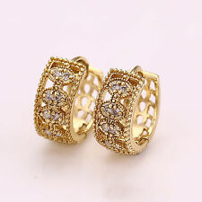14K Gold GF Wide Huggie Style Hoop Earrings with Swarovski Crystals Stylish