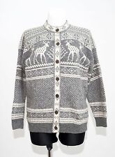 WOMENS NORTHERN CLASSICS CARDIGAN NORDIC 100 % SHETLAND WOOL GREY SIZE L LARGE