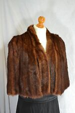 VINTAGE 1940s mink fur cape, brown winter wedding party size 10-12