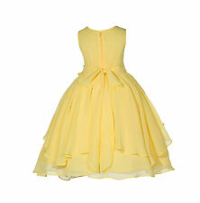 New Yoryu Chiffon Ruched Bodice Flower girl dress wedding Pageant Toddler 162H