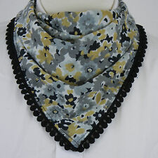NEW Womens ECHO 3-Pack Neckerchief Scarf $94 Floral Quilted Blue Teal Black Gray
