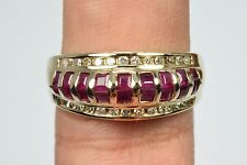 Women's Luxury Quality Blood Red Ruby & Diamond Dome Band Ring 14k Yellow Gold