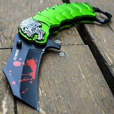 ZOMBIE HUNTER Spring Assisted Opening Tactical Knives NEON GREEN Karambit Knife