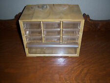 Vtg Akro-Mills Marbelized YELLOW Plastic  Jewel Box Organizer cabinet 10 DRAWERS