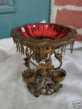 ANTIQUE VICTORIAN FRENCH CRANBERRY GLASS JEWELED PERFUME BOTTLE ORMOLU HOLDER