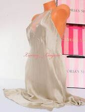 NWT VICTORIA'S SECRET Lingerie 100% Silk High Neck Babydoll Unlined L Champagne