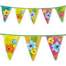 6m Tropical Luau Hibiscus Flower Party Pennant Flag Banner Bunting Decoration