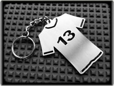 FOOTBALL TEAM SHIRT KEYRING NUMBER 13 - STAINLESS STEEL - HAND MADE - CHAIN FOB