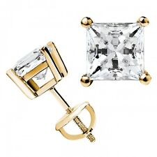 3 ct White Sapphire Princess Stud Earrings ~14k Yellow Gold overlay ~ Screw back