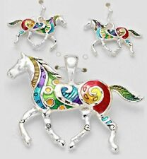 Colorful Horse Pendant and Earring Set Silver Chain Necklace USA Shipper #2
