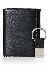 NWT Calvin Klein Men's Pebble Leather Slim Trifold Wallet and Key Fob Set, Black