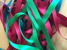 12 x 1 Metre Lengths of  Assorted Colours  SATIN RIBBON 15MM OFF CUTS BUNDLE