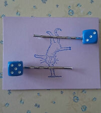 Handmade set of two small blue dice hair clip bobby pin hair clips