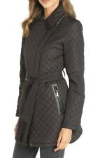 NWT DKNY WOMENS PARKA QUILTED BELTED COAT JACKET ESPRESSO BROWN DARK SZ  LARGE