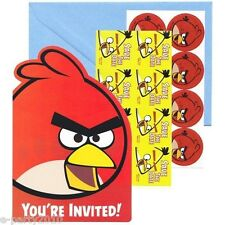 ANGRY BIRDS INVITATIONS Invites (8) ~ Birthday Party Supplies Stationery Notes