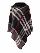 WOMEN LADIES TARTAN CHECK KNITTED PONCHO CAPE WARM WRAP WINTER SHAWL ONE SIZE