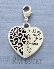 MOTHER AND DAUGHTER FOREVER Clip On Charm Fits Link Chain floating locket C213