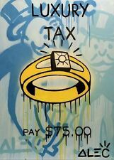 """Alec Monopoly Oil Painting on Canvas HUGE Urban Wall Decor Luxury Ring 24x36"""""""