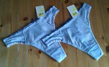 2 pairs thongs size S 8-10 Bnwt with dark blue crossover ribbon detail to back