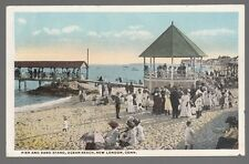 [51926] OLD POSTCARD PIER AND BAND STAND ON OCEAN BEACH, NEW LONDON, CONNECTICUT