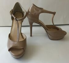 Jessica Simpson Bansi Women US 8.5 Med Nude Peep Toe Platform Heel Shoes