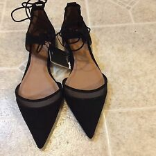 ZARA BLACK MESH D'ORSAY FLAT POINTED  SHOES SIZE EU39/US38
