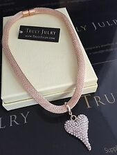 Luxurious Rose Gold Necklace With Diamanté Heart Pendant - Gift Packaged
