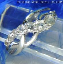 WHITE TOPAZ Past Present and Future Sterling Silver 0.925 Estate Band RING sz 7