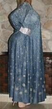 M SWEEPING FLORAL VTG LINGERIE SLIP NIGHTGOWN NEGLIGEE LONG SLEEVE