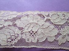 """Antique Calais embroidered net lace  from skin cotton""""flowers"""" /France"""